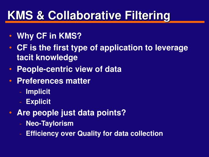 kms collaborative filtering
