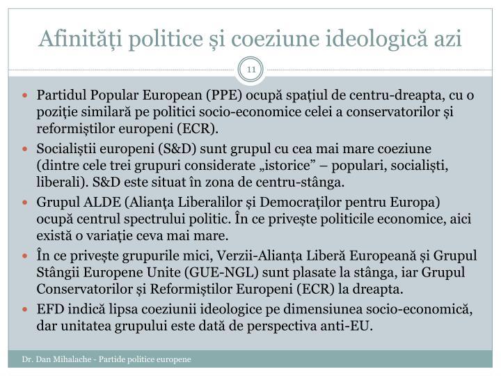 Afinități politice și coeziune ideologică azi