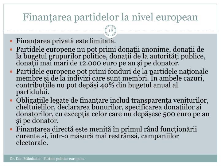 Finanțarea partidelor la nivel european