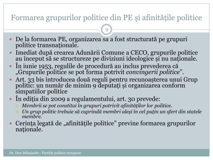 Formarea grupurilor politice din PE și afinitățile politice