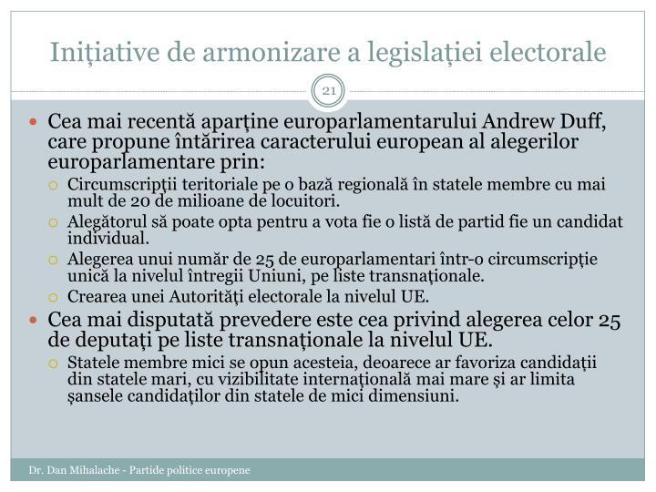 Inițiative de armonizare a legislației electorale
