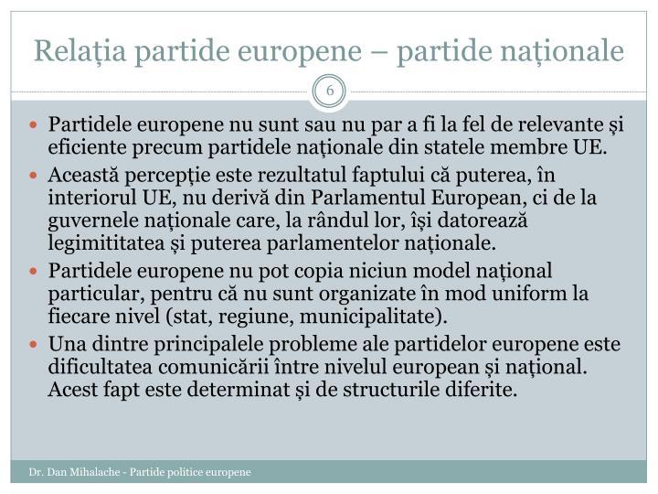 Relația partide europene – partide naționale