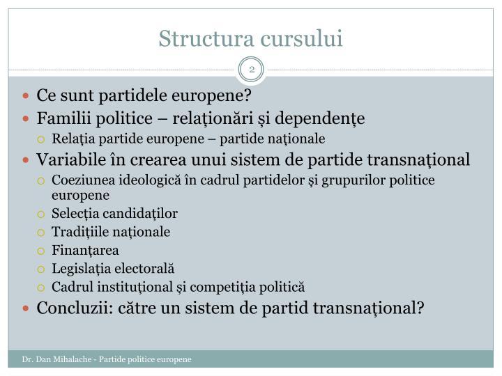 Structura cursului