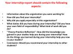 your internship report should contain the following aspects