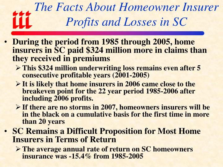 The Facts About Homeowner Insurer Profits and Losses in SC