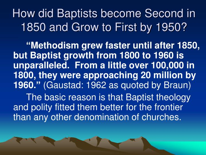 How did Baptists become Second in 1850 and Grow to First by 1950?