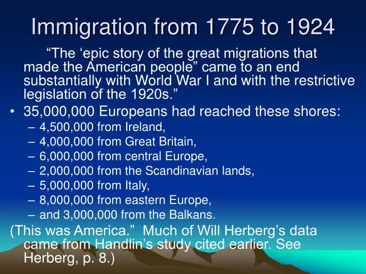 Immigration from 1775 to 1924