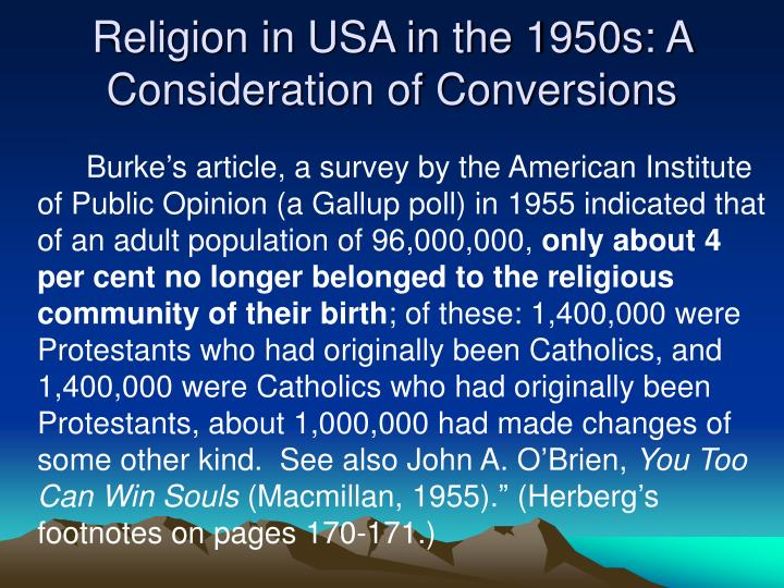 Religion in USA in the 1950s: A Consideration of Conversions