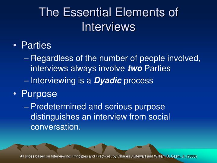 The essential elements of interviews1