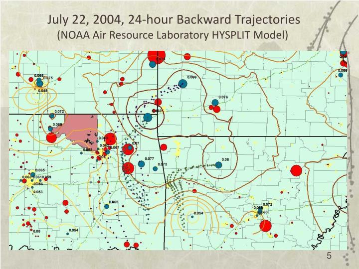 July 22, 2004, 24-hour Backward Trajectories