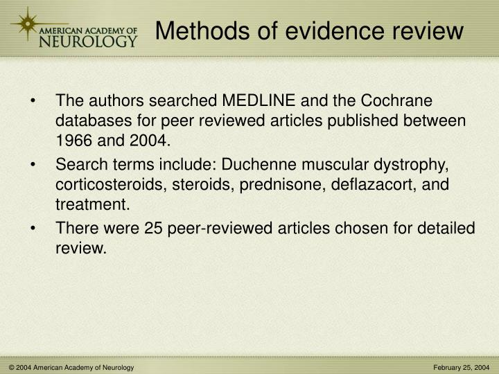 Methods of evidence review