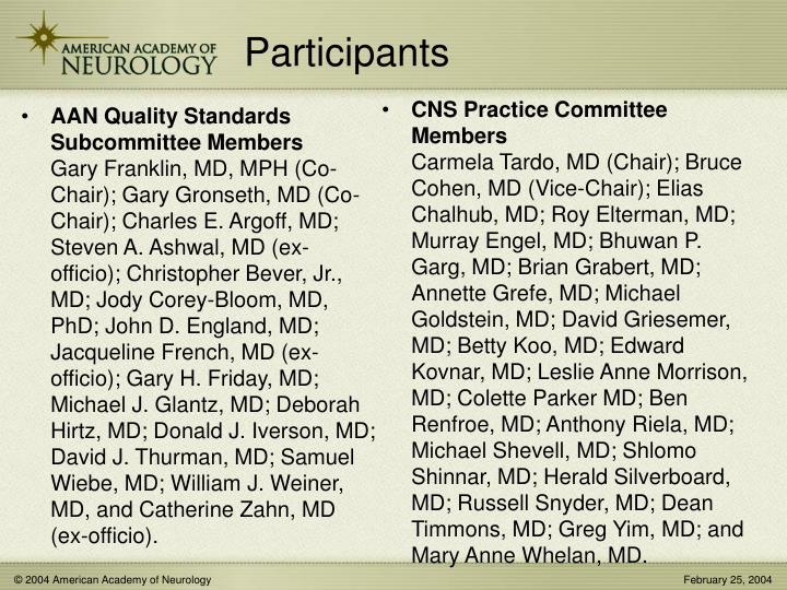 AAN Quality Standards Subcommittee Members