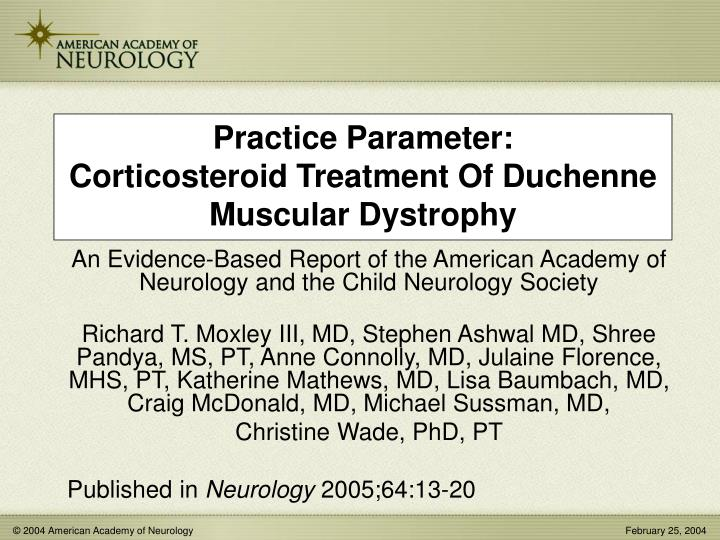 practice parameter corticosteroid treatment of duchenne muscular dystrophy n.