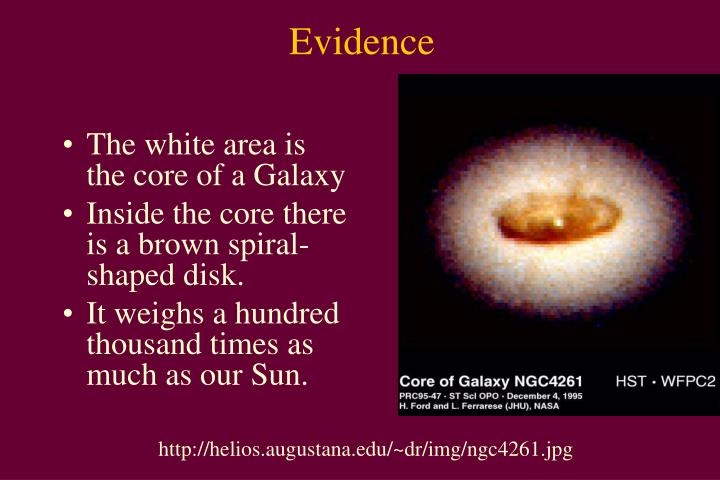 The white area is the core of a Galaxy