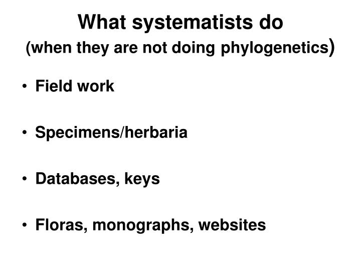 What systematists do when they are not doing phylogenetics