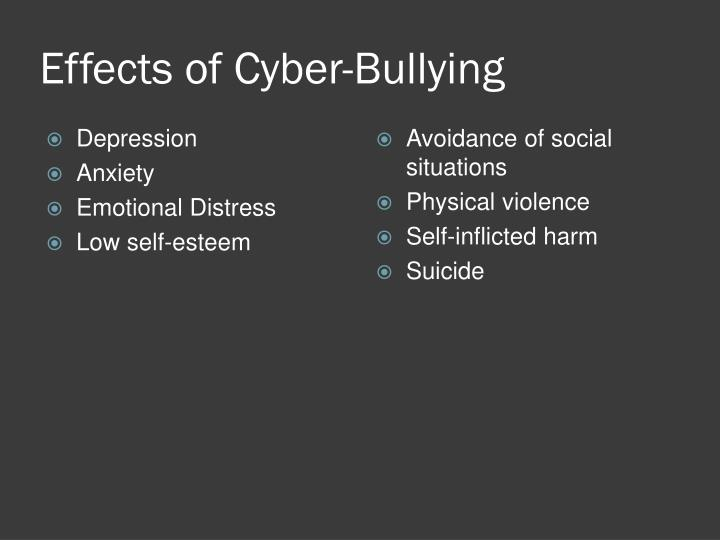 the effects of cyberbullying on the self esteem and emotions of children Cyberbullying effects like all forms of bullying, cyberbullying causes psychological, emotional and have lower self-esteem use alcohol and drugs bullying can.