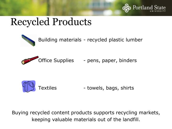 Building materials - recycled plastic lumber