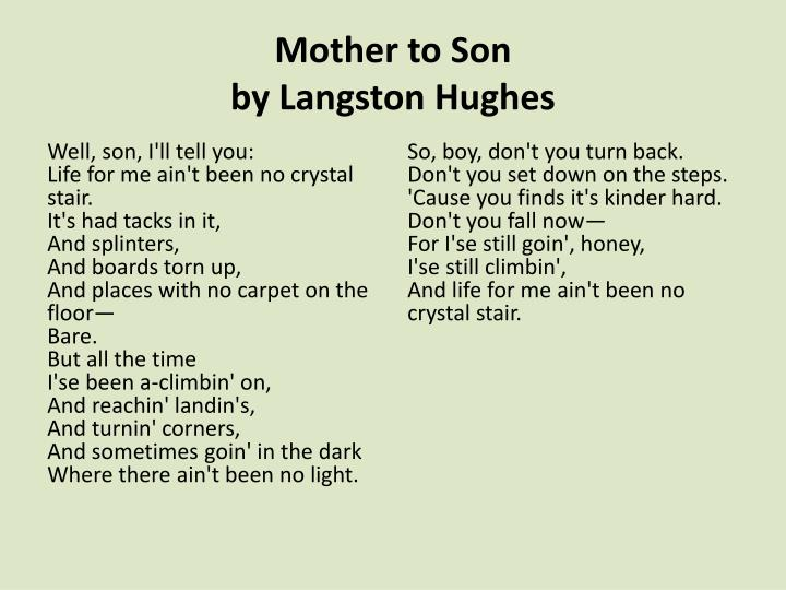 Mother to Son Analysis - Literary devices and Poetic devices