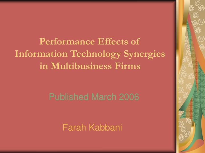 performance effects of information technology synergies in multibusiness firms n.