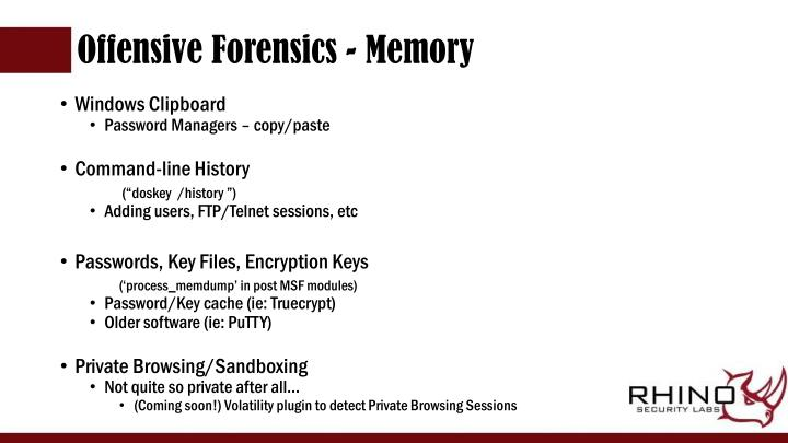 Offensive Forensics - Memory