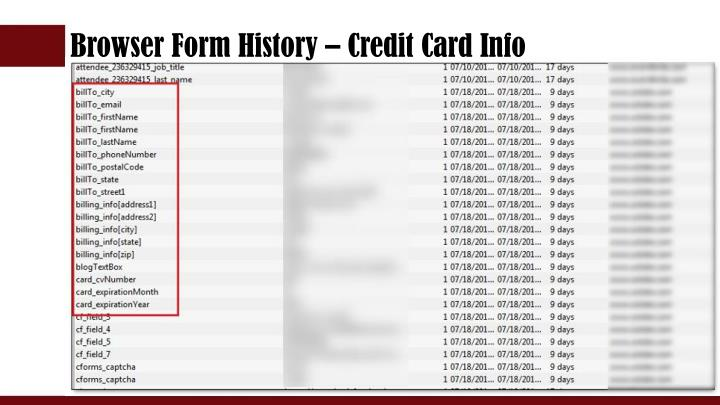 Browser Form History – Credit Card Info
