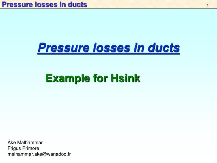 pressure losses in ducts n.