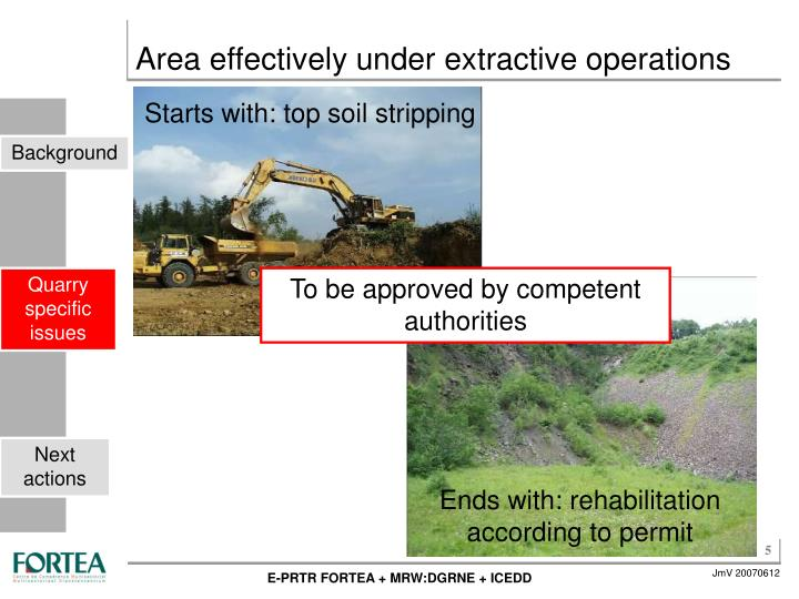 Starts with: top soil stripping