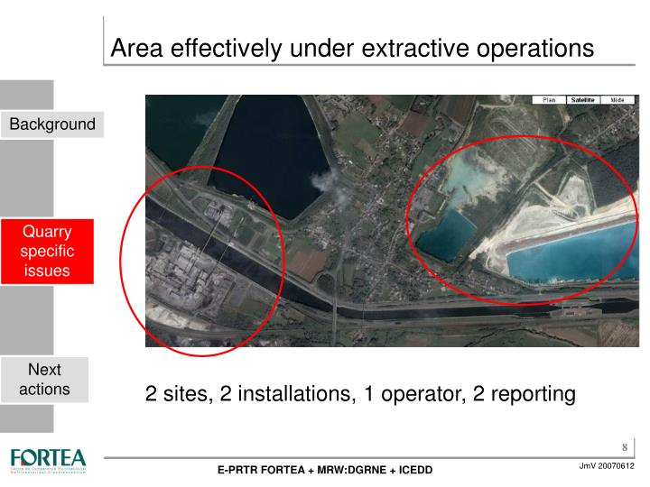 Area effectively under extractive operations