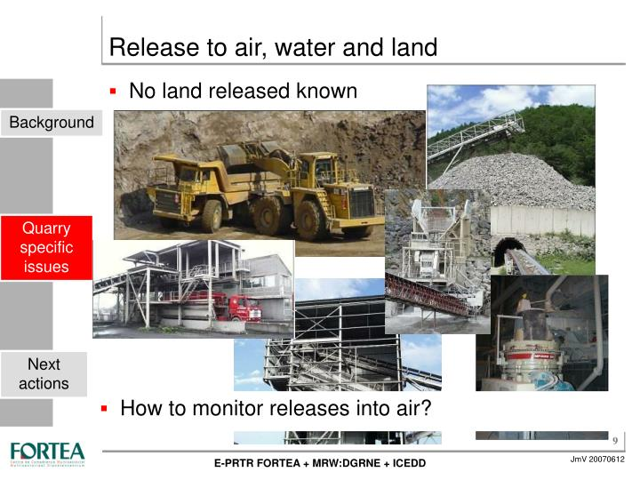 Release to air, water and land