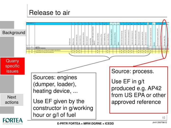 Sources: engines (dumper, loader