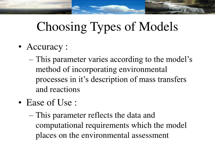 Choosing Types of Models
