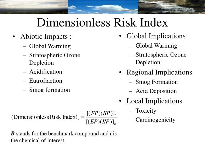 Dimensionless Risk Index
