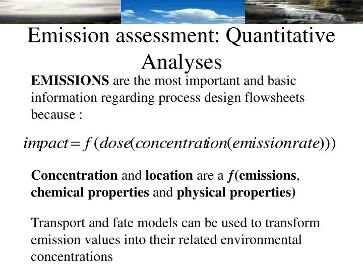 Emission assessment: Quantitative Analyses