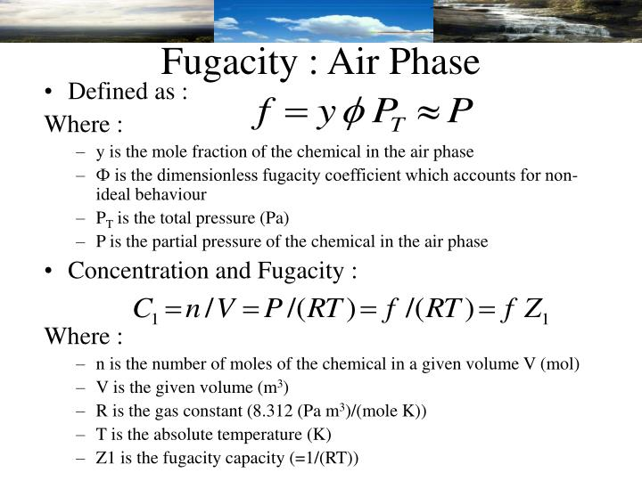 Fugacity : Air Phase