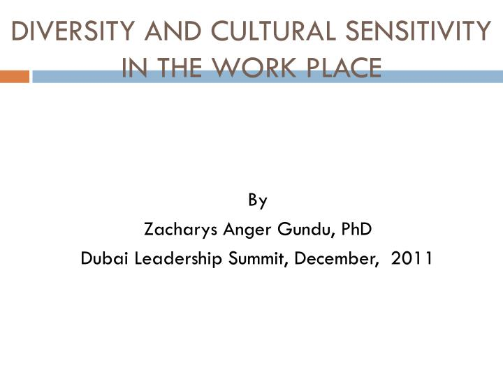 diversity and cultural sensitivity in the work place n.