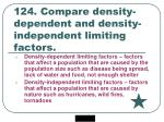 124 compare density dependent and density independent limiting factors