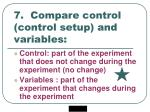 7 compare control control setup and variables