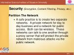 security encryption content filtering privacy etc