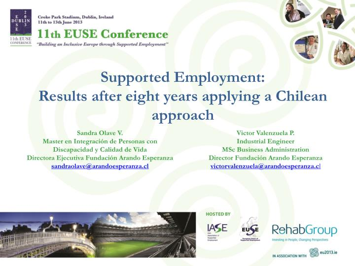 supported employment results after eight years applying a chilean approach n.