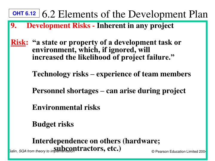 6.2 Elements of the Development Plan