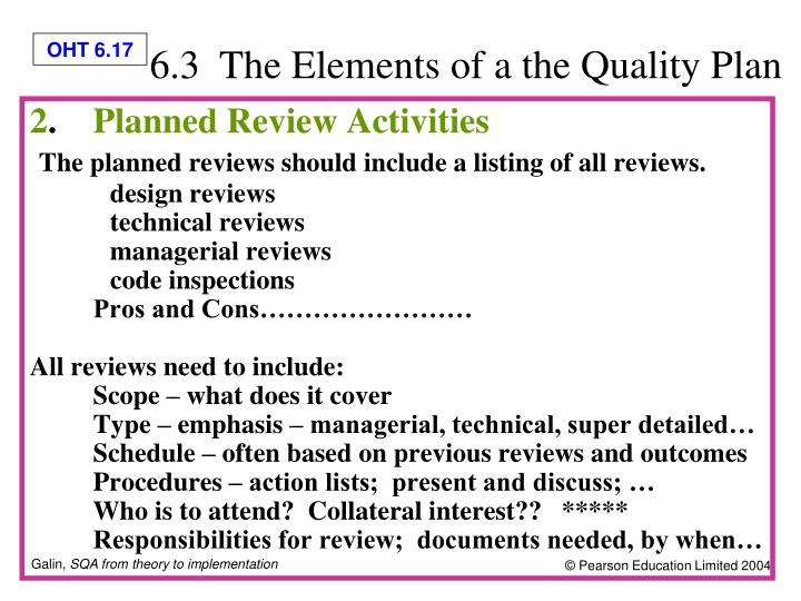 6.3  The Elements of a the Quality Plan