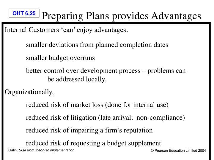 Preparing Plans provides Advantages