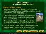 key concept life in medieval society