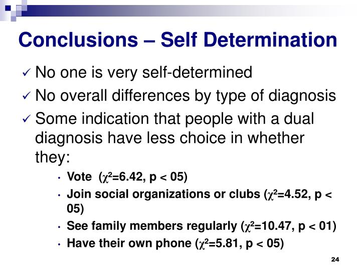 Conclusions – Self Determination