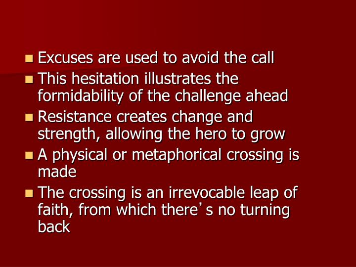 Excuses are used to avoid the call