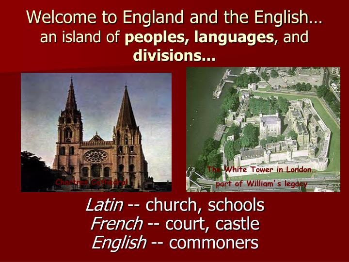 Welcome to England and the English…