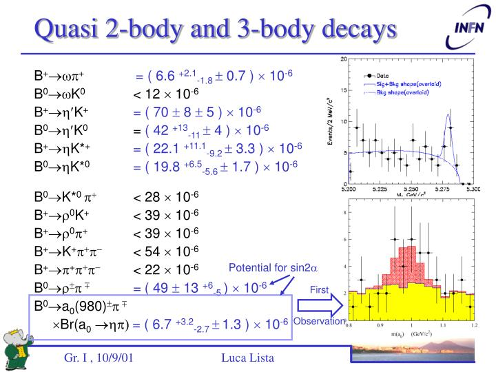 Quasi 2-body and 3-body decays
