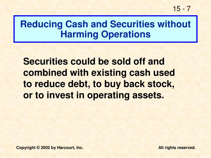 Reducing Cash and Securities without Harming Operations