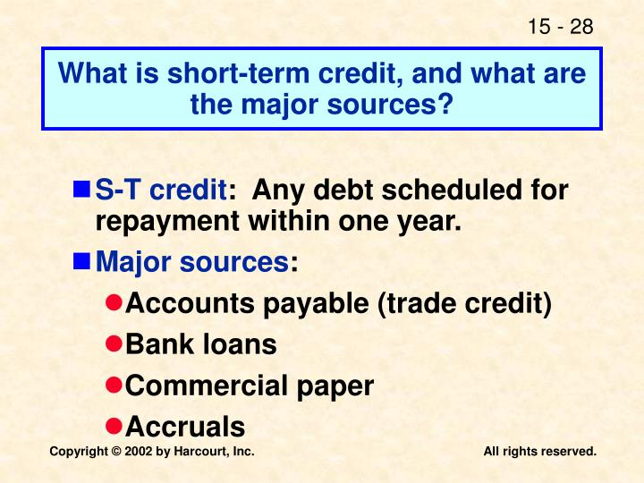 What is short-term credit, and what are the major sources?