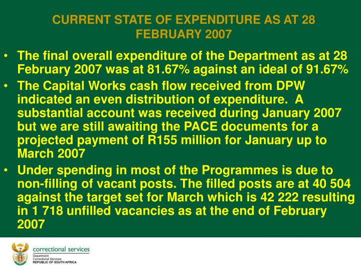 The final overall expenditure of the Department as at 28 February 2007 was at 81.67% against an ideal of 91.67%
